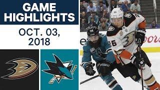 NHL Highlights | Ducks vs. Sharks - Oct. 3, 2018