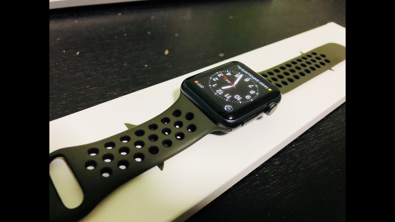 ab60777dfe41ed Apple Watch Nike Sport Band in Cargo Khaki Black  Unboxing and First  Impressions