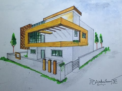 How to draw in 2 point perspective a modern house for Modern house 2 point perspective