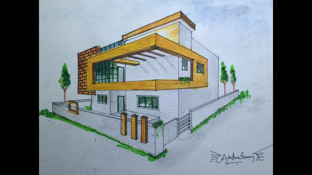 Architectural perspective drawing 3 youtube for Architecture modern house design 2 point perspective view