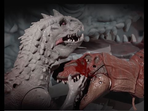Jurassic World Indominus Rex VS T-rex and Blue Lego stop motion poster
