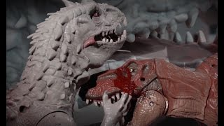 Jurassic World Indominus Rex VS T-rex and Blue Lego stop motion