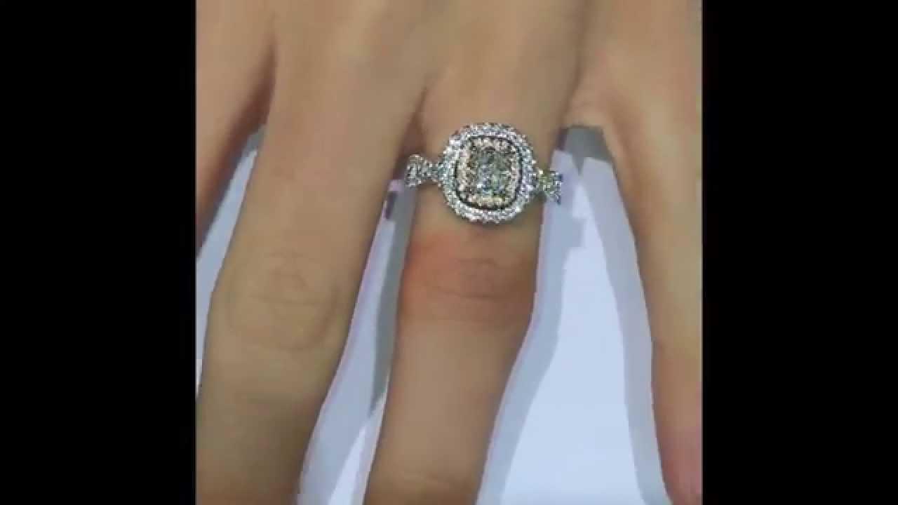 Cushion Diamond Custom Engagement Ring In Rose Gold Double Halo