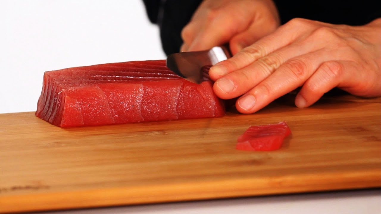 How to slice sushi fish sushi lessons youtube for Best fish for sushi