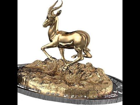 Gabon Springbok 3D Three Dimensional Silver coin 2000 Francs 3 oz 2014