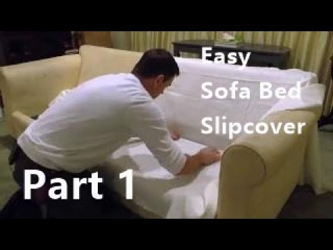 Sofa bed slipcover using easy pattern method.