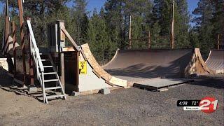 La Pine man donating half-pipe to temporary skate park
