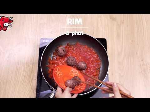 Nấu ăn cùng Con Bò Cười - Mì Ý thịt viên nhân phô mai vuông Belcube