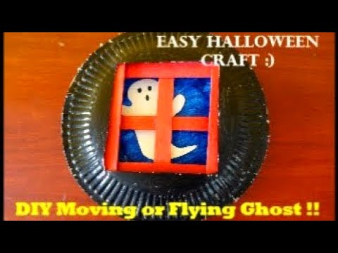 DIY Moving or Flying Ghost !! Easy Halloween Craft with Paper Plates !! Step By Step