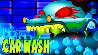 Car Wash | Haunted House Monster Truck Cartoons  | Truck Videos For Children by Kids Channel