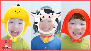 귀여운 아이들 동물 농장 동요 노래 부르기 (귀요미 심쿵 주의) ♡ 스노우 앱 카메라 놀이 Kid Animal Song Snow Camera | 말이야와아이들 MariAndKids