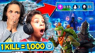 1 KILL = FREE 1000 V BUCKS! Fortnite: Battle Royale w/ My 6 Year Old Son!