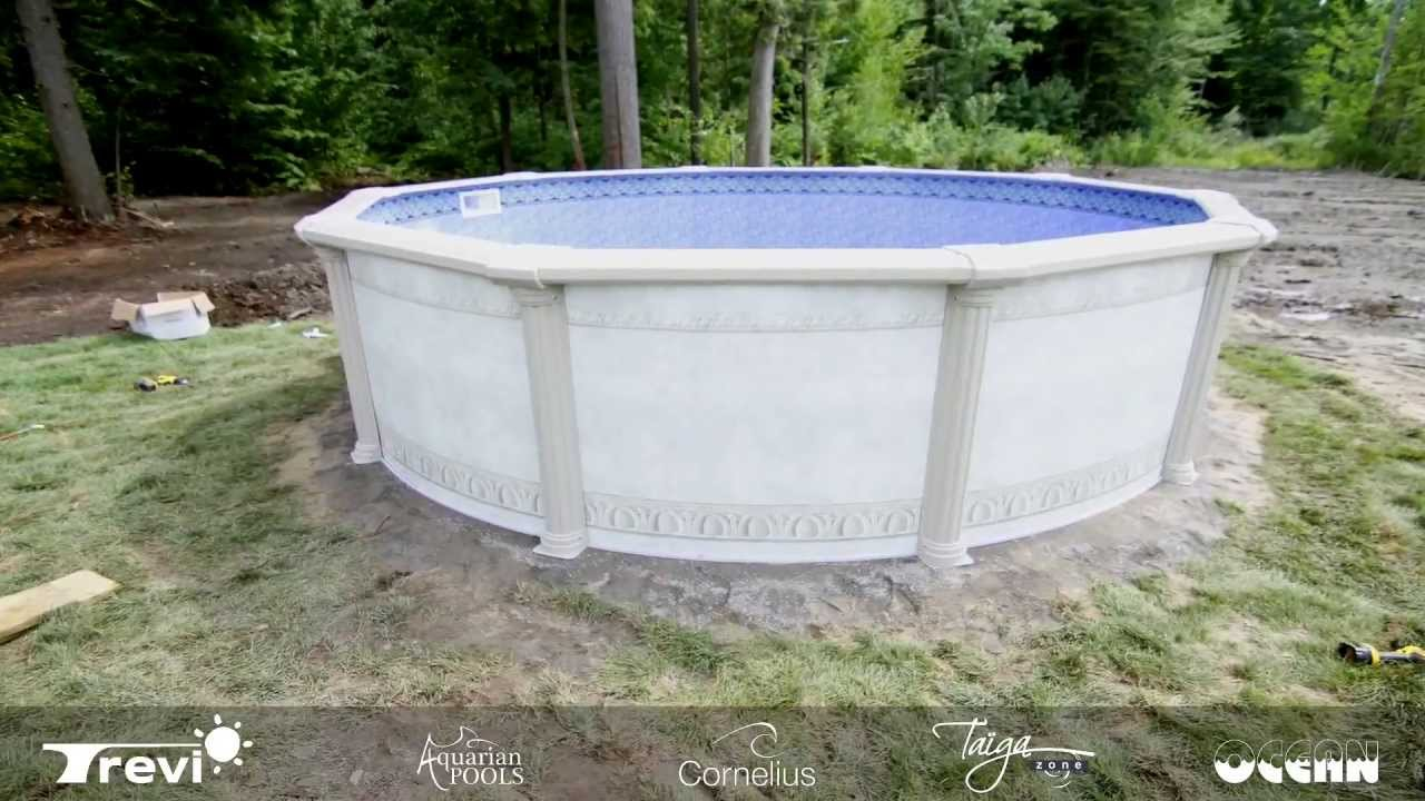 Installation piscine ht miramar ronde youtube for Installation piscine enterree