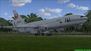 FS2004 - FS9 MD11 Japan AirLines (Jal) flight from Tokyo to BEIJING { HD }