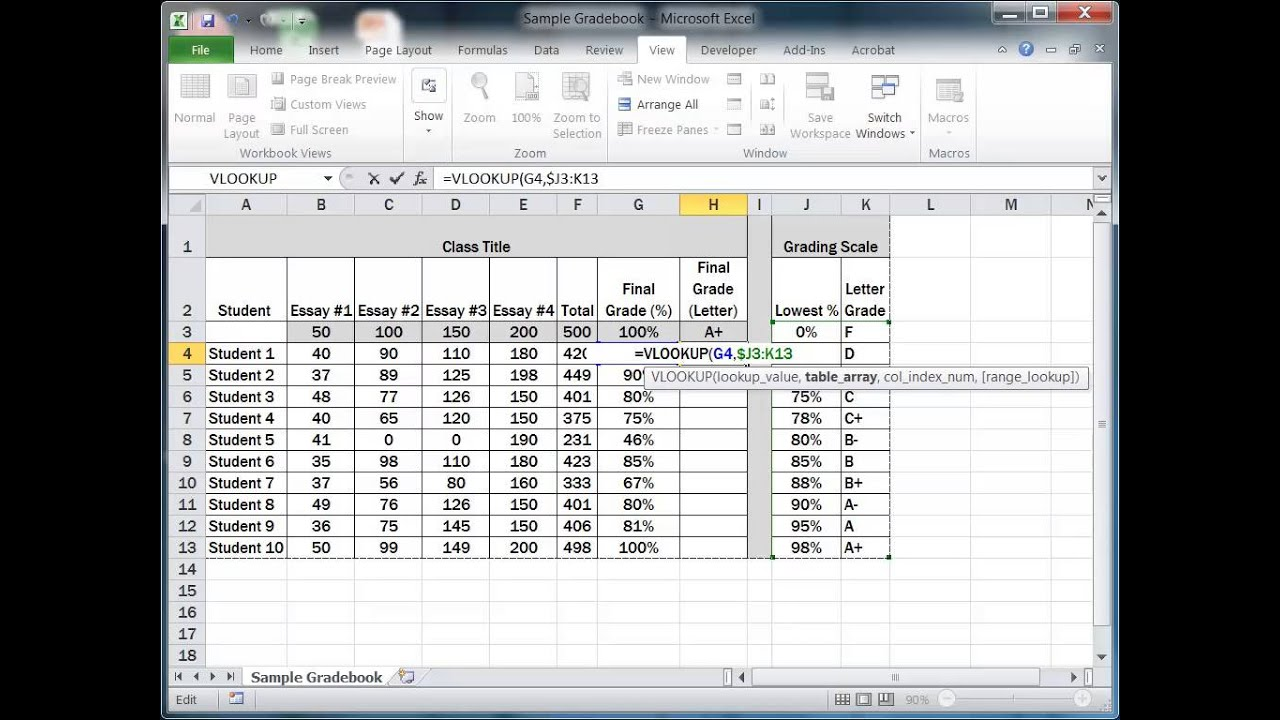 How To Convert Grades Using The Vlookup Function In Excel