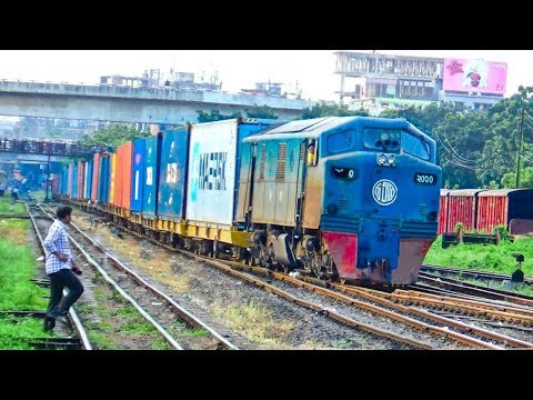 Container Freight Train of Bangladesh Railway entering Dhaka inland container depot (ICD)