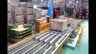 自動棧板纏繞裹膜十打帶系統 Auto Pallet Wrapping and Strapping Packing System