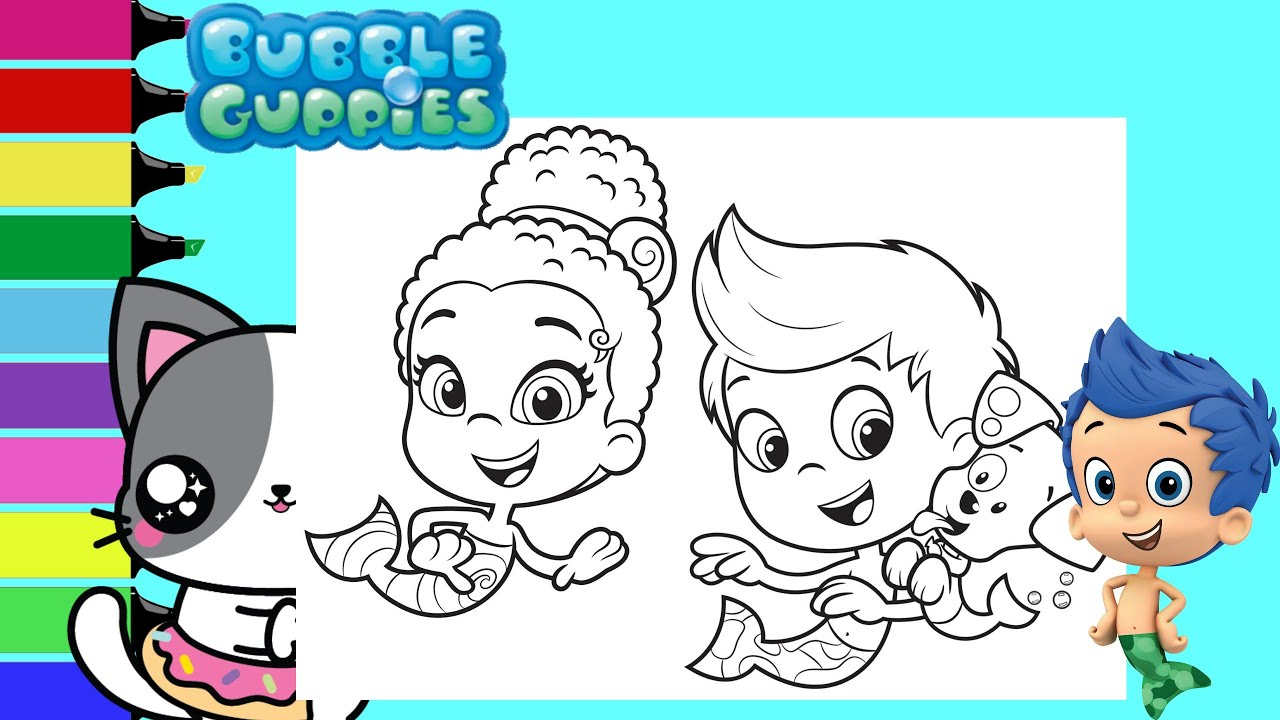 Coloring Bubble Guppies Zooli Gil & Bubble Puppy Merperson