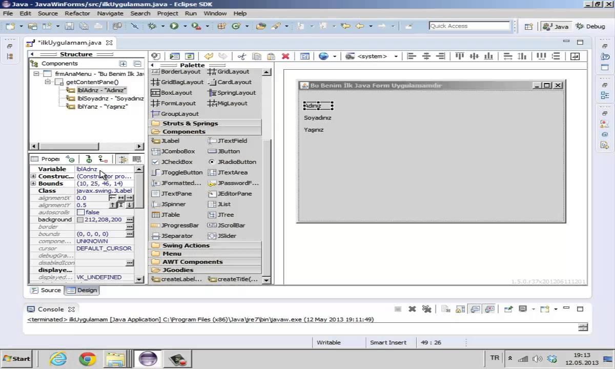 JAVA swing form uygulamaları-1 - YouTube