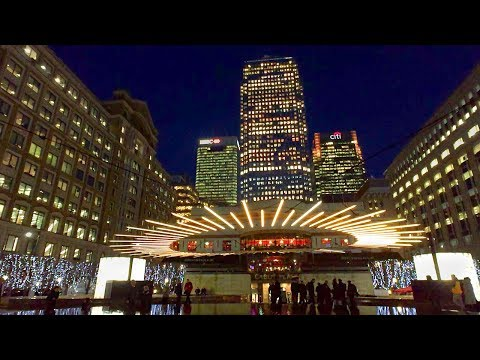 London Walk - CANARY WHARF at NIGHT incl. WINTER LIGHTS Festival 2018
