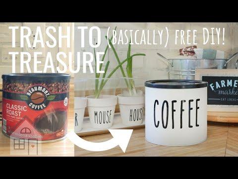 TUTORIAL: DIY Upcycled Farmhouse Coffee Canister   Rae Dunn Inspired Coffee Canister   DIY Farmhouse
