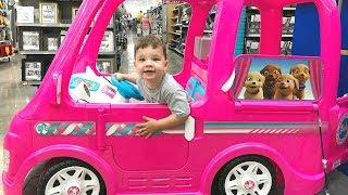Toy Shopping At Walmart For POWER WHEELS Barbie Dream Camper Pretend Play!