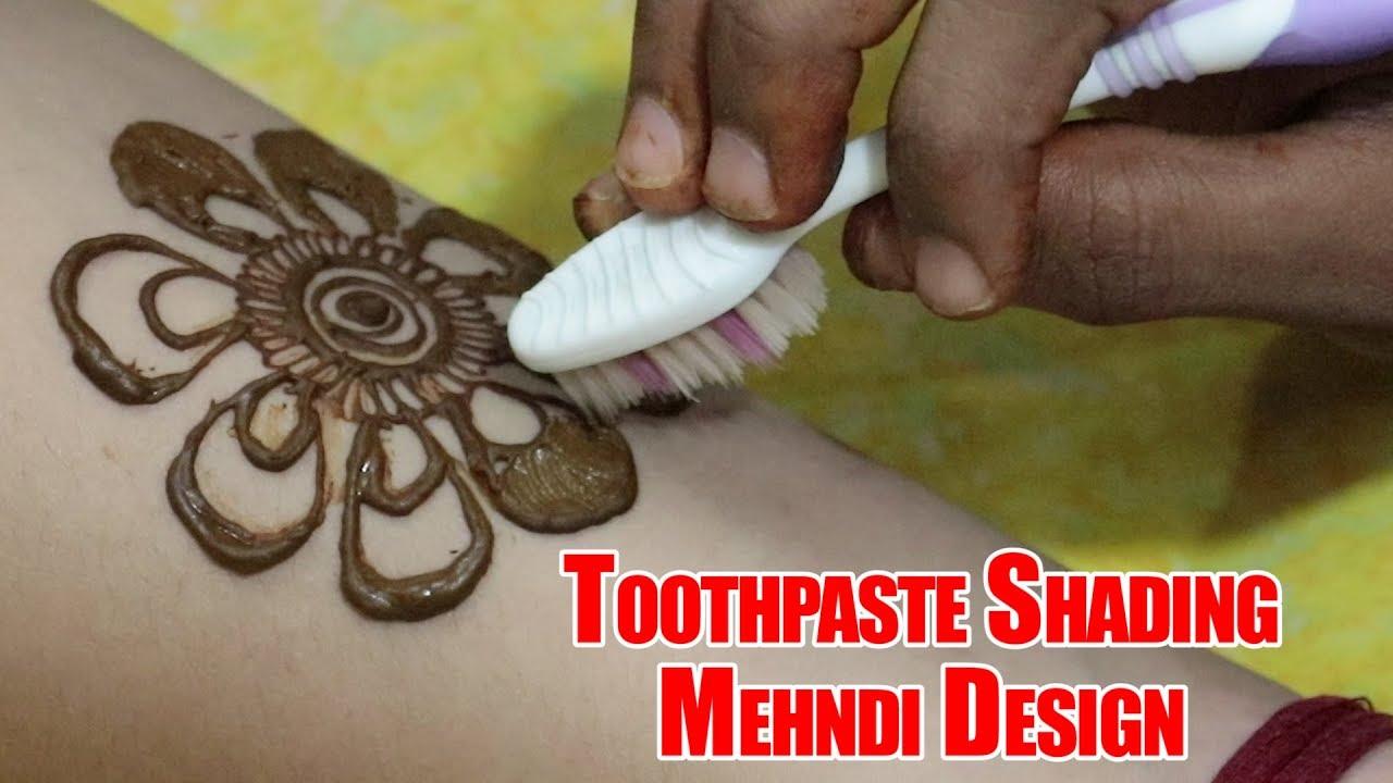 Apply Flower Mehndi Design Using Toothpaste Shading | Mehndi Design 2018 |  Simple Mehndi Design