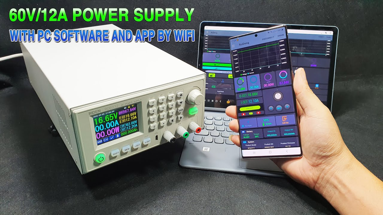 Assembling DC Power Supply 60V 12A 720W - PC software and APP by WIFI