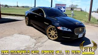 """Supercharged Jaguar XJL on 22"""" Gold Forgiato Drea ECL Wheels done by Big Boys Customs!"""