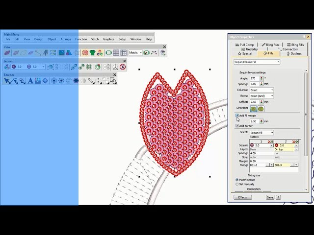 Sequin digitizing with Wilcom's EmbroideryStudio (with voiceover)