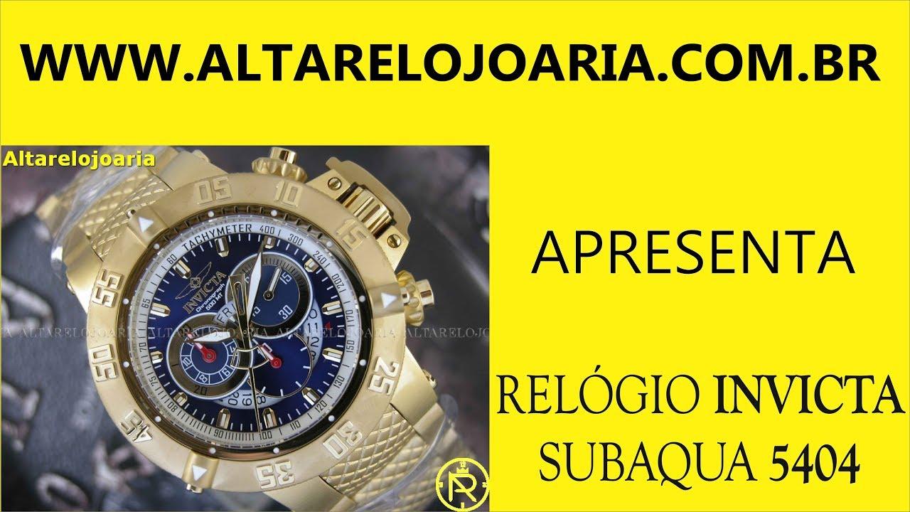 d232574003e Relógio Invicta Subaqua Cronógrafo Plaque Ouro 5404 2017 - YouTube