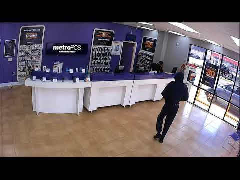 watch surveillance video police seek man in metro pcs armed robbery