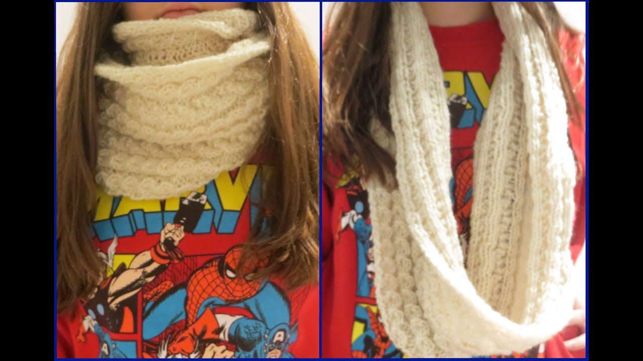 Knitting Pattern Infinity Scarf Straight Needles : Knit an Infinity Scarf with Straight Needles - YouTube