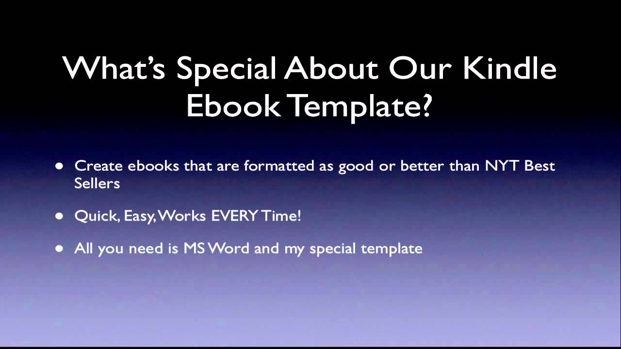 Kindle Ebook Template Perfectly Formatted Books Youtube