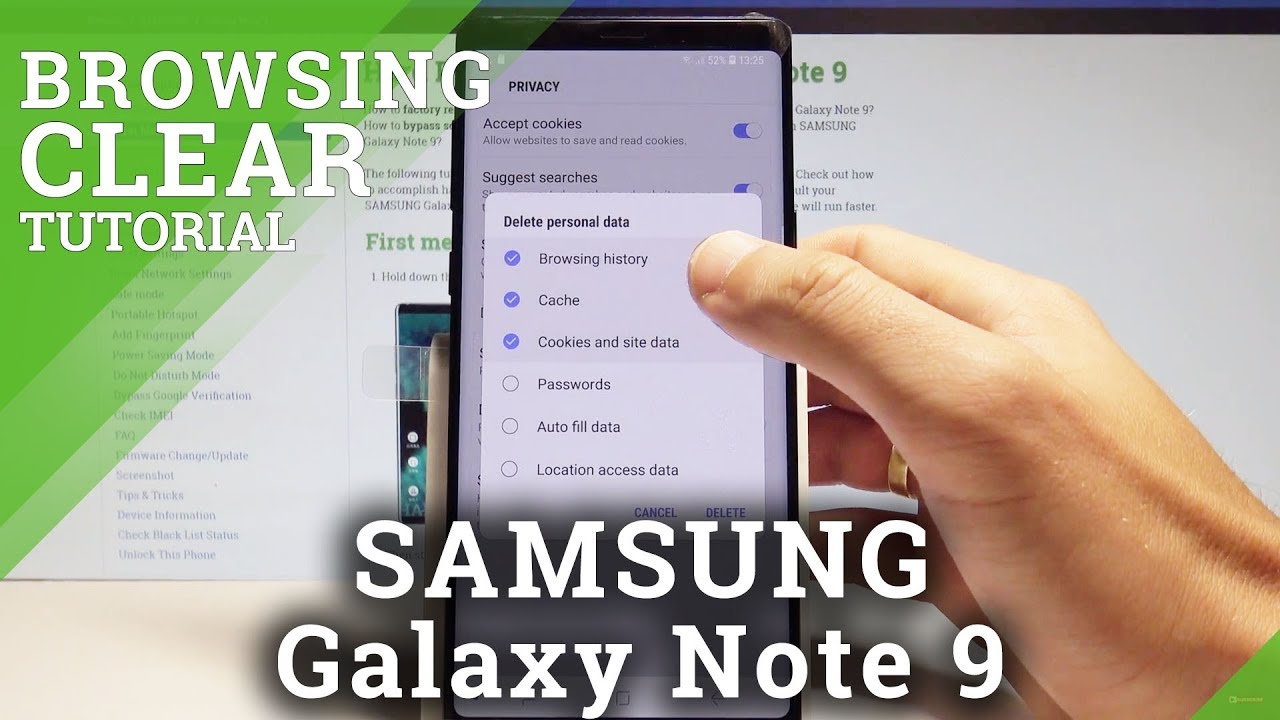 How to Clear Browsing Data on SAMSUNG Galaxy Note 9 - Delete History  |HardReset Info