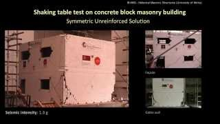 Shaking table test on concrete block masonry building: Symmetric Unreinforced Solution