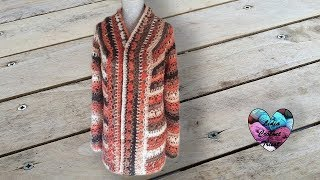 Cardigan manteau veste motifs fleurs crochet 12