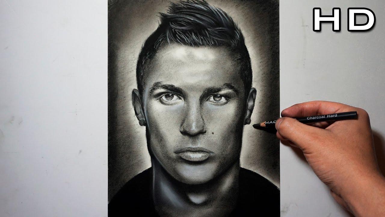 Dibujo de Cristiano Ronaldo a Lpiz Carboncillo  Dibujando el