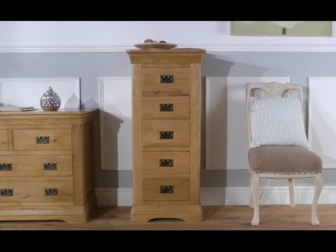 Farmhouse Country Oak Five Drawer Tallboy Chest Of Drawers