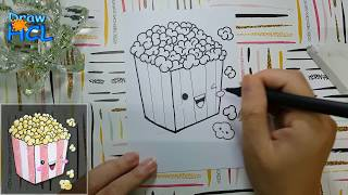 How to draw cute Popcorn Bag | Doodle Art Cute