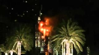 Dubai fire skyscraper five stars hotel tower new year eve close Burj Khalifa