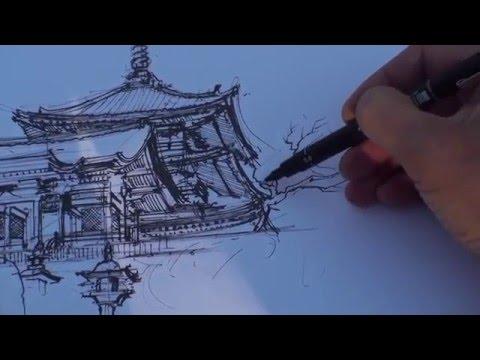 Kiyomizu-dera sketch Kyoto
