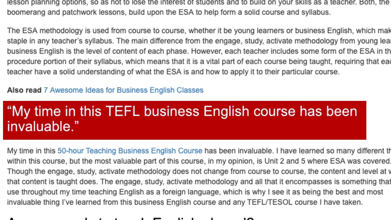 What I've Learned From My TEFL Course in Business English
