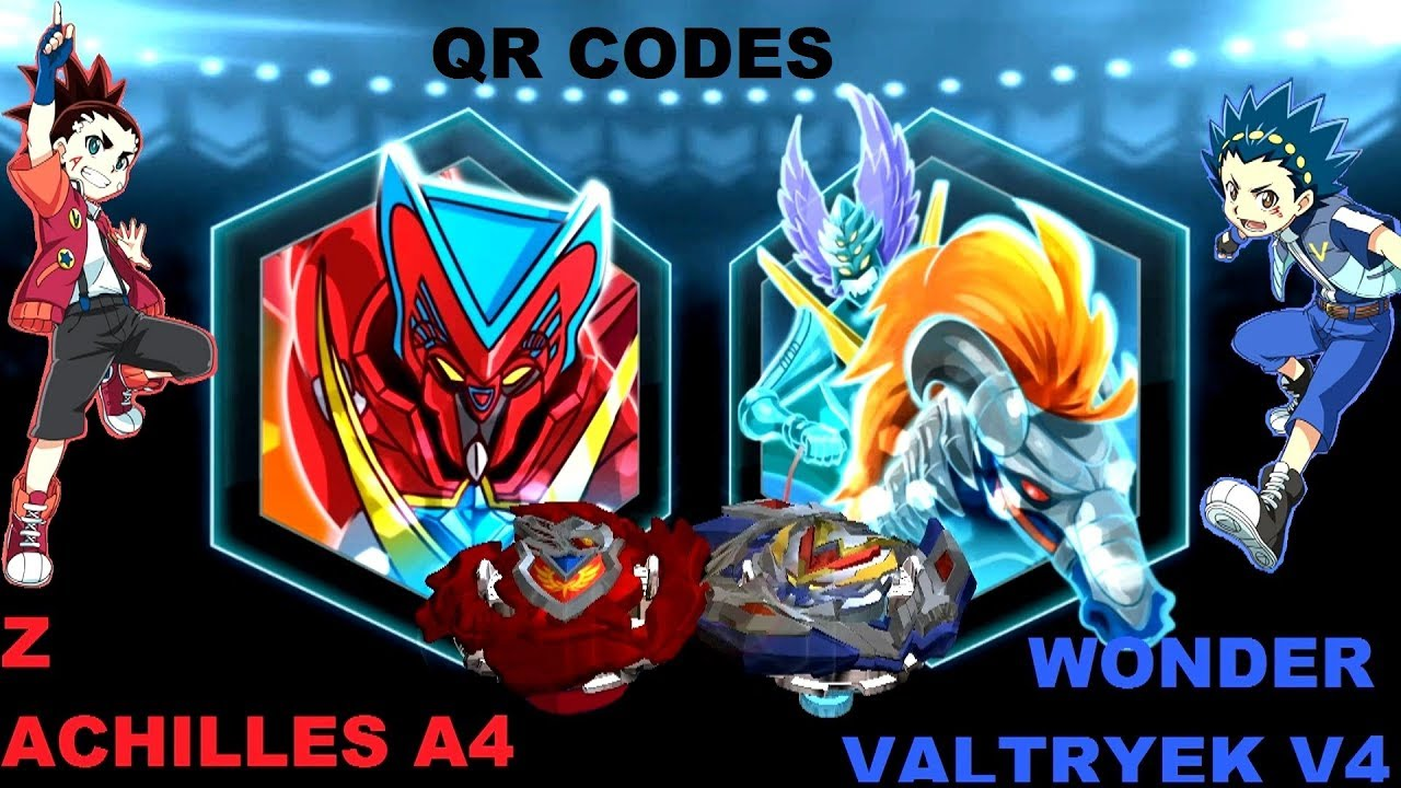 WONDER VALTRYEK V4 vs Z ACHILLES A4 -QR CODES in Beyblade Burst App Gameplay -Turbo Evolution UPDATE #1