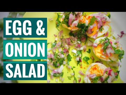 Egg and onion salad, simple easy and healthy salAds, healthy snack ideas
