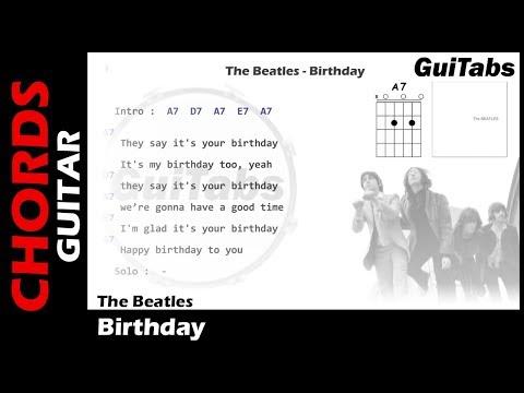The Beatles - Birthday ( Lyrics and GuiTar Chords ) 🎸