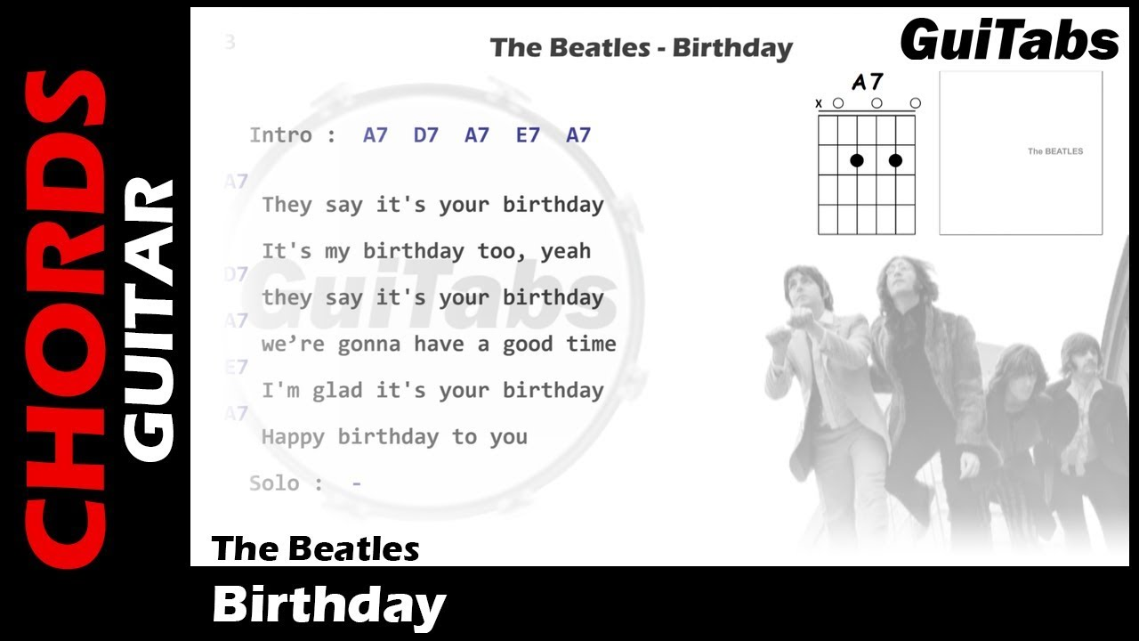 The Beatles Birthday Lyrics And Guitar Chords Youtube