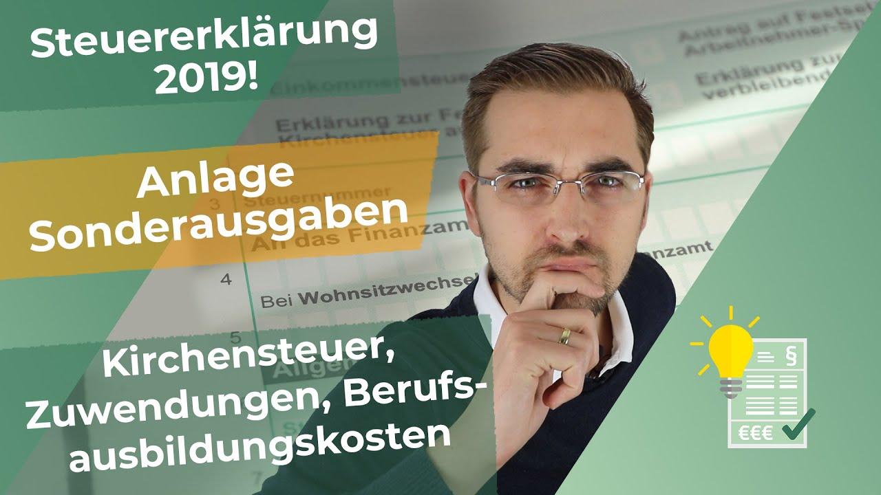 Steuererklärung 2019 - Anlage Sonderausgaben ausfüllen ...