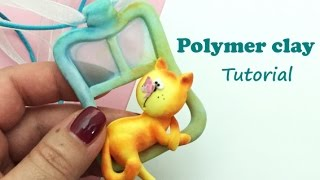 Polymer clay (Fimo soft) pendant- Tutorial- Cat at the window