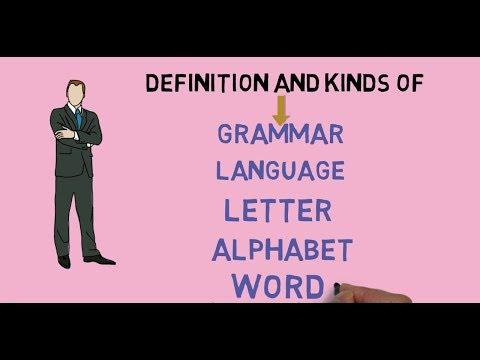 Definition and kinds of grammar, language, letter, alphabet, word  || English grammar
